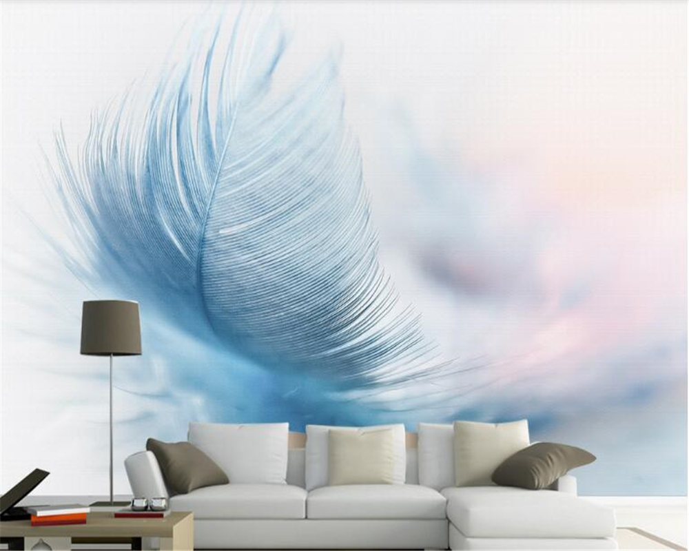 Beibehang Custom Fashion Retro Modern Minimalist Aesthetic Blue Feather Wallpaper TV Background Wall For Walls 3 D In Wallpapers From Home