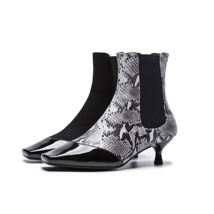 Botas {zorssar} Serpiente Genuino Las Snake Talón Nieve De 2018 Black Moda black Zapatos Cuero Suede Mujeres Estilo Bajo Tobillo Mujer Para rOqOSzEwx