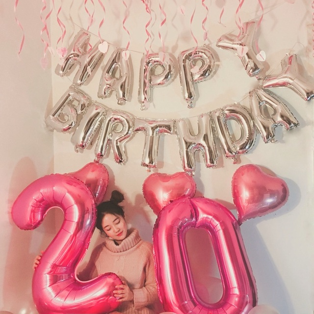 Picture Set 40 Number 20 Years Old 16 Letter Birthday Foil Balloons 3pcs Pink Heart Balloon Girl Party Decor Supplies