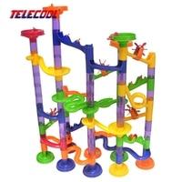 Telecool diy costruzione marble run giocattoli domino bone mini formato 80 pz/105 pz plastica building blocks giocattoli labirinto palle giocattoli pista