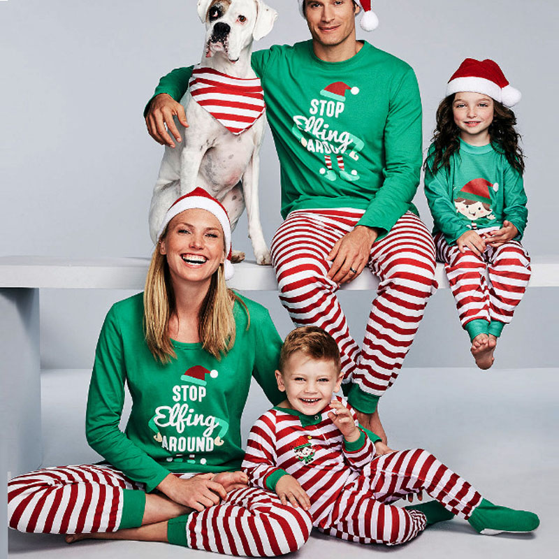 Christmas Parent-Child Suit Letters Printed Home Clothes Underwear Women's Men