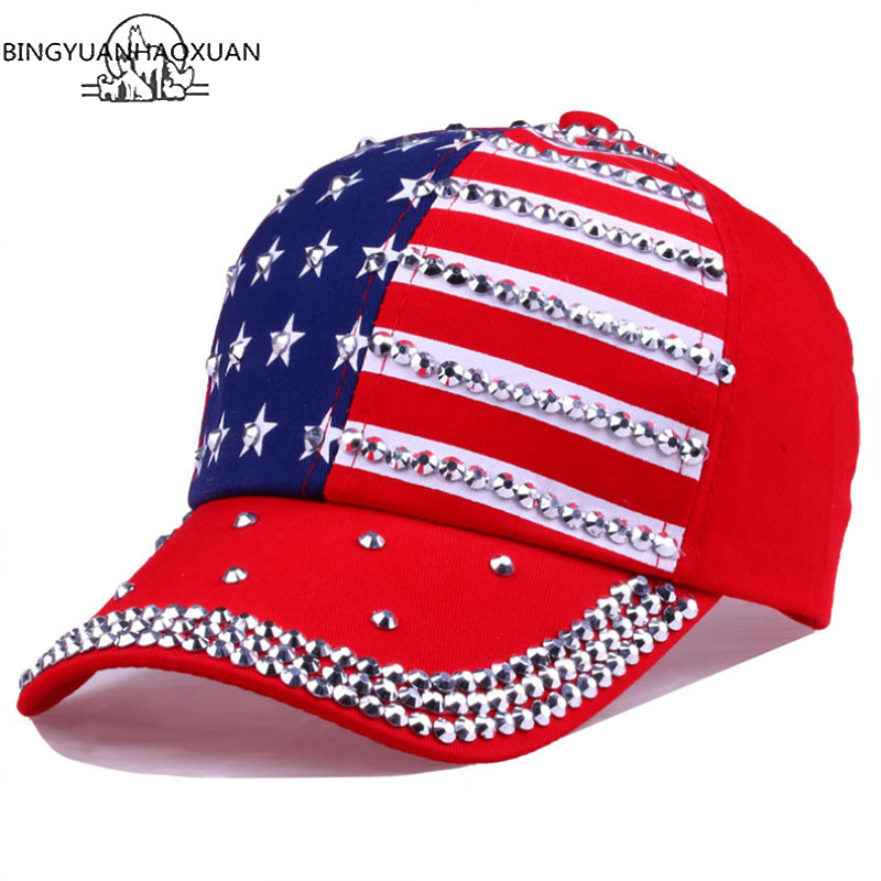 BINGYUANHAOXUAN Men Women Baseball Cap USA Flag Diamond Rivet Brand Snapback Cap Unisex Adjustable Rap Rock Hats Fashion Gorras