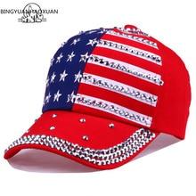 BINGYUANHAOXUAN Men Women Baseball Cap USA Flag Diamond Rivet Brand Snapback Unisex Adjustable Rap Rock Hats Fashion Gorras