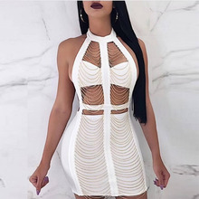 Sexy Dress Women Backless Tassels Bodycon Bandage Dresses Hollow Out Mini Night Out Celebrity Party Dress Vestidos