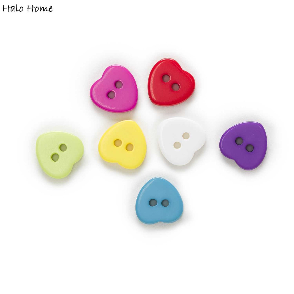 100st 2 Hole Sweety Heart Resin Knappar Kläder Craft Scrapbook Sy Accessoarer Kläder DIY 11mm
