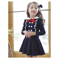College Wind Kids Dress Frill Double-breasted Collar Child Style Clothings Bow Roupas Infantis Menina College Wind Kids Dress