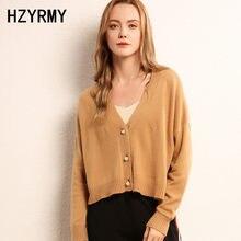 a443a7338a HZYRMY Novos Outono das Mulheres Com Decote Em V de Cashmere Cardigan  Sólidos Curto tamanho Grande