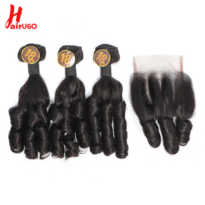 Romance Weave Hair Bundles With Closure Brazilian Human Hair HairUGo Remy Spiral Curl 3 Bundles With Closure 1 Set for Full Head