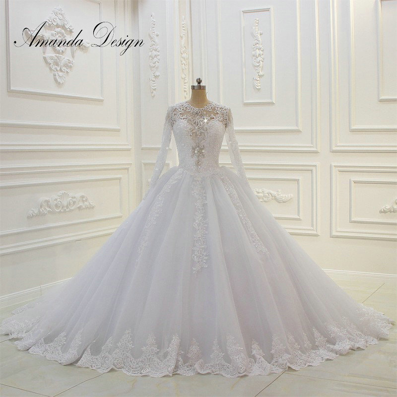 Vestido De Noiva Amanda Novias Beaded Top Long Sleeves Wedding Dresses 2019
