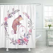 Watercolor Circus Bear on Bicycle and Floral Wreath White Boho Chic Kids with Gray Decor Shower Curtains Bathroom Curtain(China)