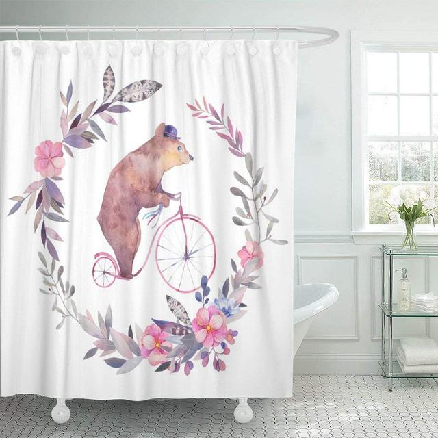 Watercolor Circus Bear On Bicycle And Floral Wreath White Boho Chic Kids With Gray Decor Shower Curtains Bathroom Curtain