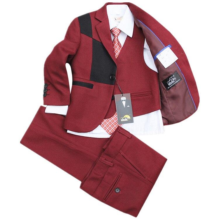 (Jackets+Vest+Pants+Tie+Cravat) Boy Suits Flower girl Slim Fit Tuxedo Brand Fashion Bridegroon Dress Wedding Grey Suit Blazer4