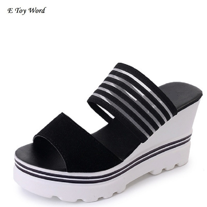 цена на E toy word 2018 new Korean female sandals summer slope with thick bottom platform shoes all-match flat sandals a female female