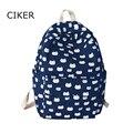 CIKER Марка высокое качество милый кот печати рюкзак женщины холст сумка студенческие рюкзаки для девочек-подростков школьные сумки mochila новый