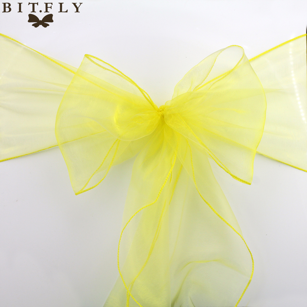18cm*275cm Wedding And Events Organza Chair Sashes Bow Chair Covers For Christmas Party Banquet Decorations Home Textiles Gold