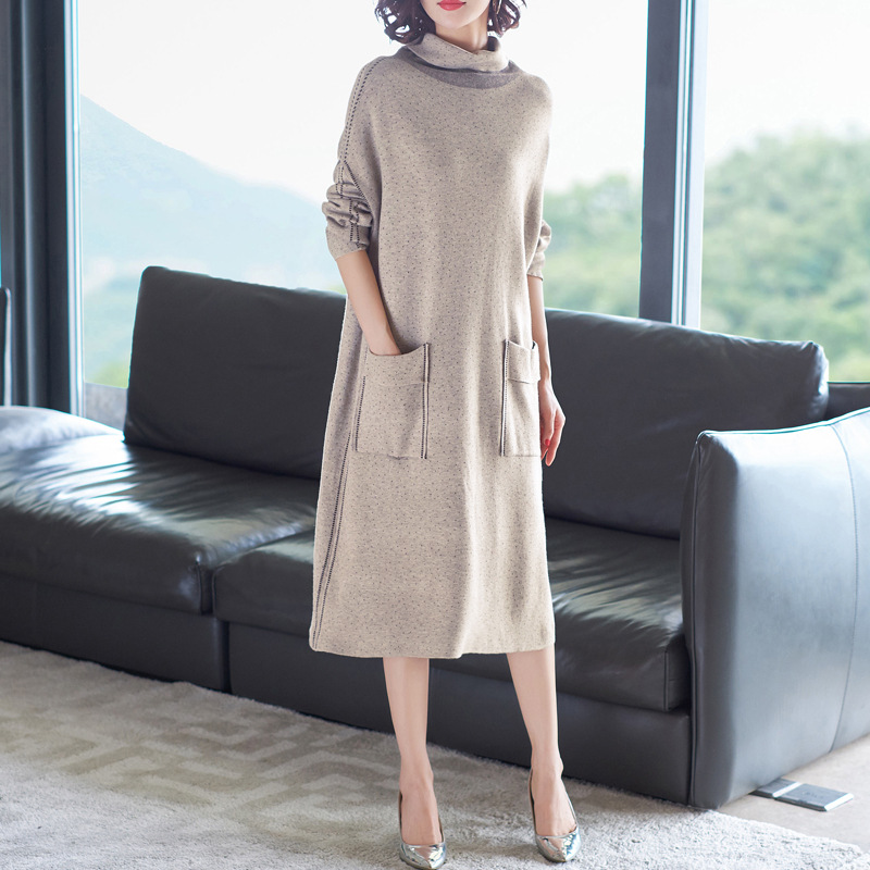 Elastic knti turtleneck loose wool sweater dress 2018 new women autumn winter basic