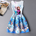 2016 Summer Style Girls Elsa Anna Princess Dresses Girl Butterfly Printed Sleeveless Formal Girl Dresses Teenagers Party Dress
