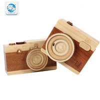 New wooden classic clockwork cute camera modeling music box toys adult children's birthday gifts