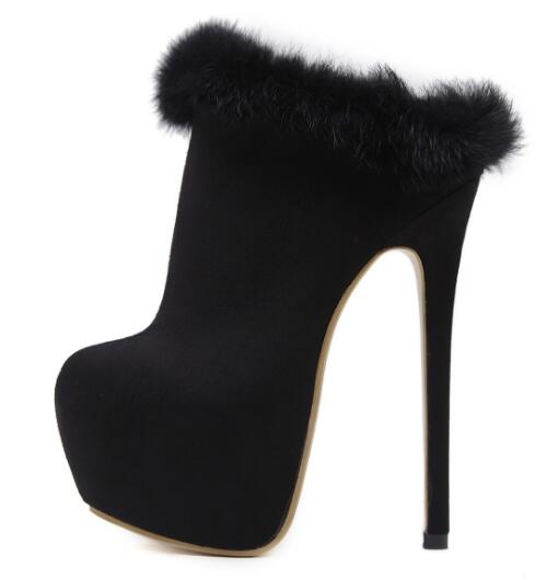 Sexy autumn and winter black high platform ankle boots for woman Fashion round toe thin high heel boots Super high thin heels