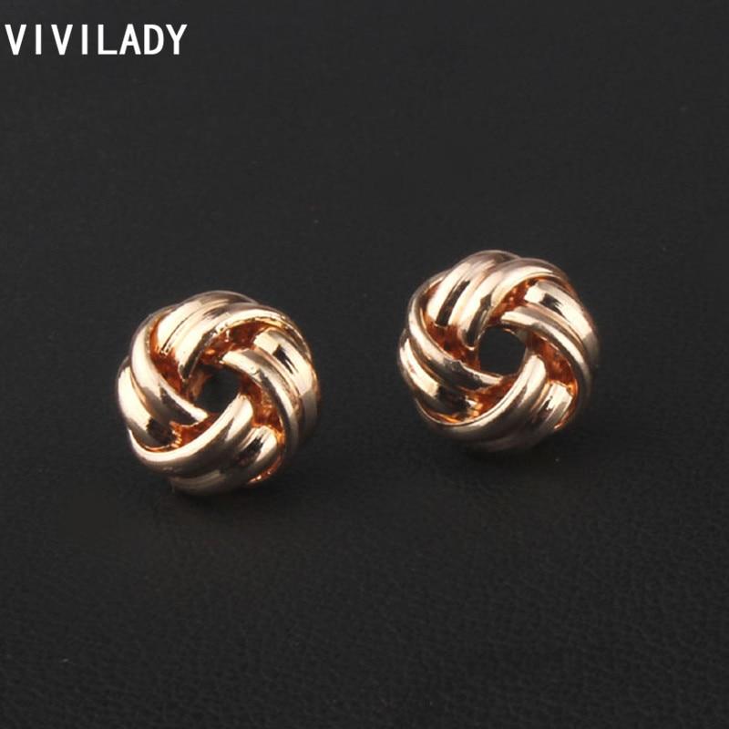 VIVILADY Fashion Round Braided Knot Stud Earringss