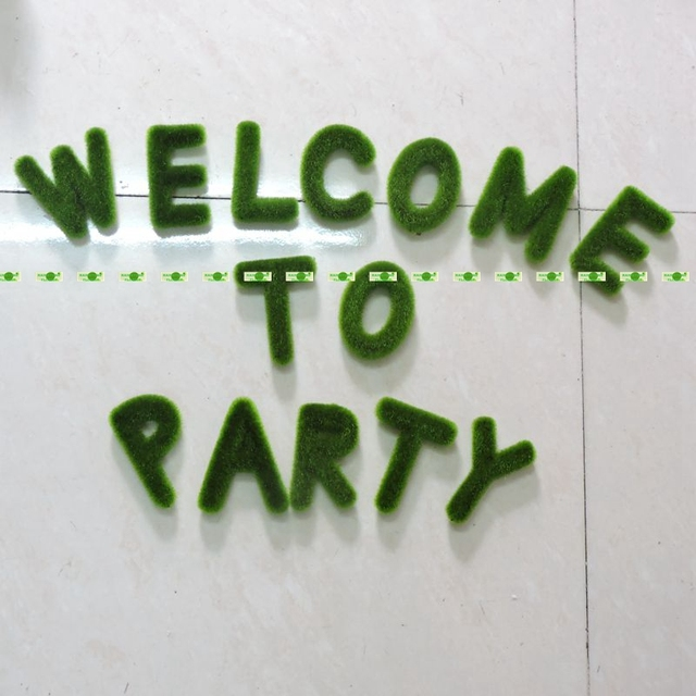 14pcs Candy Bar Artificial Moss Grass Topiary Words Letters Table