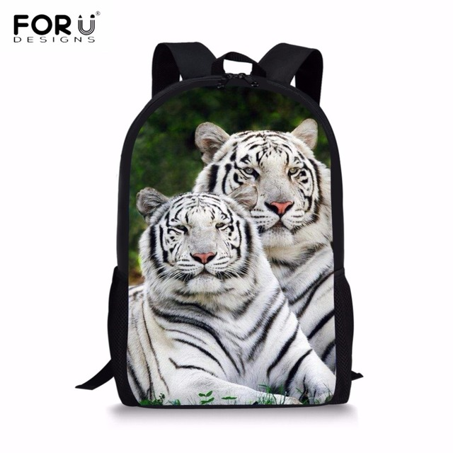 FORUDESIGNS 3D Animal Bengal White Tiger Printing Boys School Bags Primary  School Students Backpacks Children Bagpack