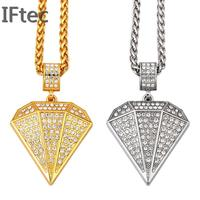 Luxury Gold Plated Simulated Diamond Big Pendants Necklaces Men Women Hip Hop Iced Out Bling Chains