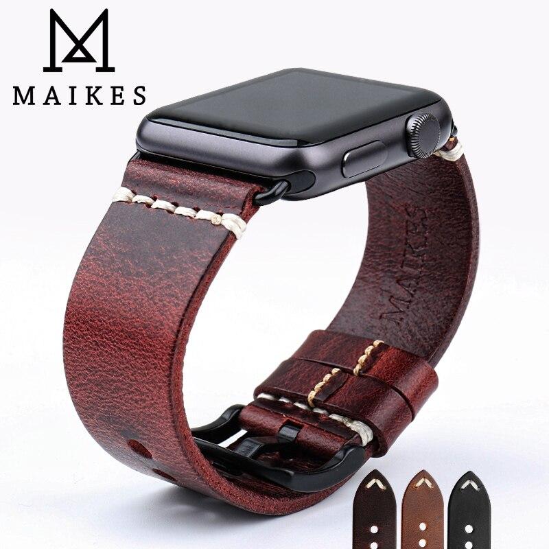 MAIKES Remplacement Pour Apple Montre Bande 44mm 40mm 42mm 38mm Série 4/3/2 /1 iWatch Bracelet Rouge Vintage Huile Cire En Cuir Bracelet