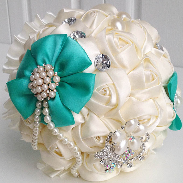 Elegant Bridal Wedding Bouquet With Pearl Beaded Brooch And Silk Roses Romantic Wedding Colorful Bride 's Bouquet In Stock 2017