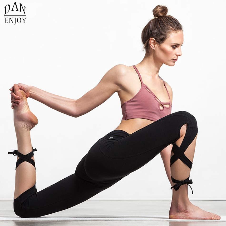 Prix pour DANENJOY Femmes Ballerine De Yoga Pantalons Sport Leggings Taille Haute Fitness Croix Yoga Ballet De Danse Serré Bandage Recadrée Pantalon de Sport