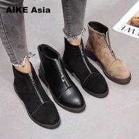 2019 Популярные черные женские ботильоны на молнии сзади; теплые женские ботинки на низком каблуке; сезон осень-зима; женская обувь; Botas De Mujer