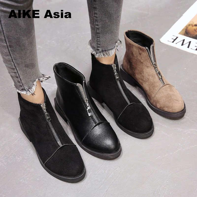 2019 HOT Back Zipper Black Ankle Boots For Women Warm Insole