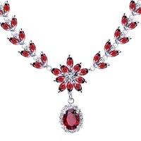 Женщина украшения 925 натуральный красный гранат цепи ожерелье роскошные элегантные ну вечеринку королева камень валентина подарок sj0001g