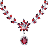Woman Jewelry 925 Sterling Silver Natural Red Garnet chain Necklace Luxury elegant Party Queen Birthstone Valentine Gift sj0001g