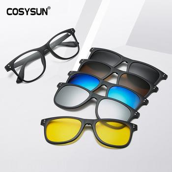 Zróżnicowane soczewki okulary mężczyźni magnetyczne okulary kobiety uchwyt magnetyczny okulary na krótkowzroczność rama z 5 szkła przeciwsłoneczne klip garnitur tanie i dobre opinie COSYSUN CN (pochodzenie) Pilot Dla dorosłych Z poliwęglanu Spolaryzowane Anti-odblaskowe UV400 38-45mm Multi-DESIGN 40-55mm