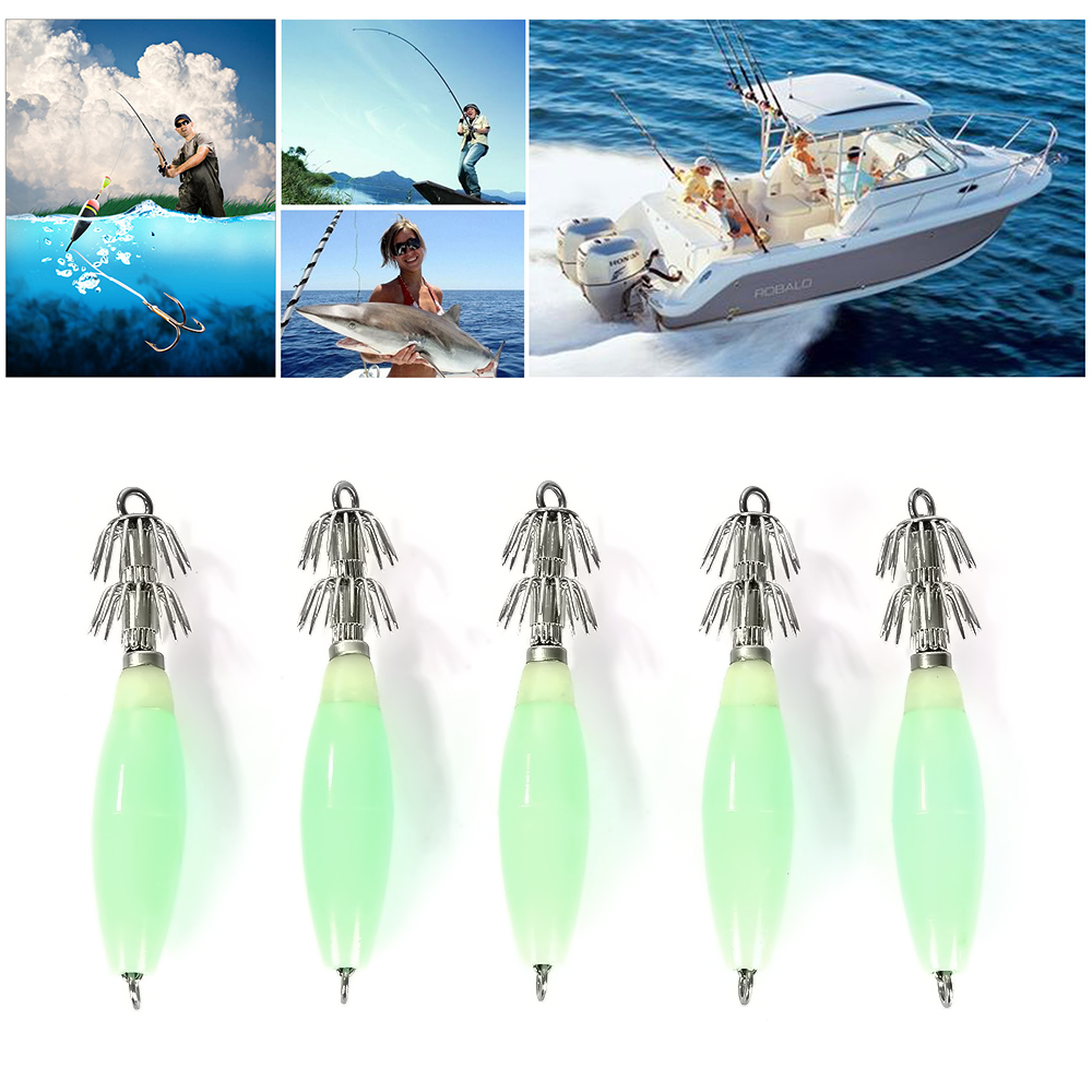 5pcs/lot Luminous Vivid Lifelike Simulation Squid Hook Fishing Tackle Lures Squid Jig Lures With Hook 9.5cm 14g Fish Hook