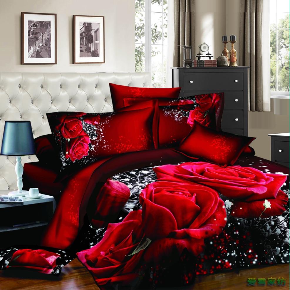 Hot Designer Bedding Sets 3d Rose Flower Comforter Cover