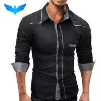 QINGYU Brand 2017 Fashion Male Shirt Long Sleeves Tops Youth Fashion Lattice Stitching Mens Dress Shirts