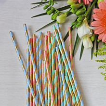 1250pcs Colorful Metallic Gold Paper Straws Foil Gold/Pastel Blue/Pink Mint Black Candy Bar Baby Shower Wedding Party Supplies