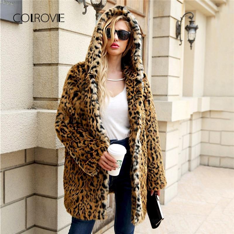 COLROVIE Plus Size Leopard Print Cardigan Streetwear Hoodie Winter Faux Fur Coat Women 2018 Fashion Warm