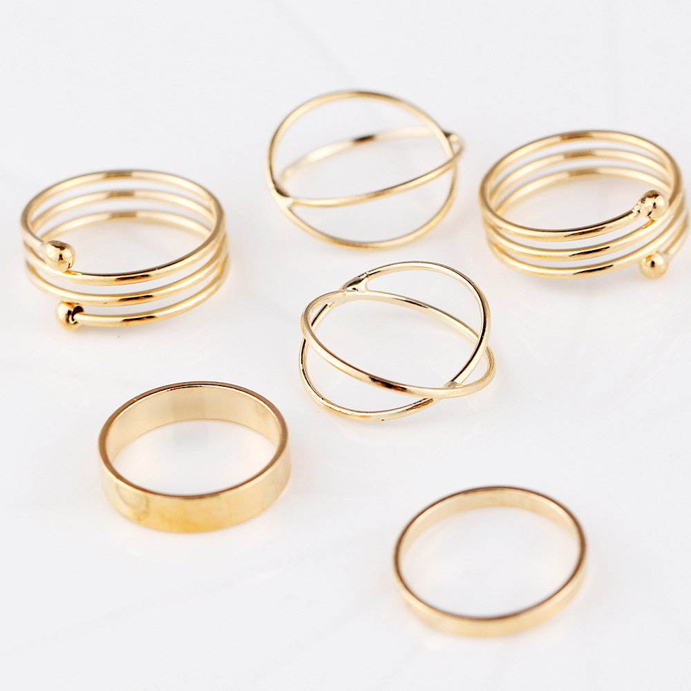 6 pieces Midi Knuckle Rings Set Gold Cross Charm Mid Finger Ring Women Girls Multilayer Round Circle Fashion Vintage Jewelry