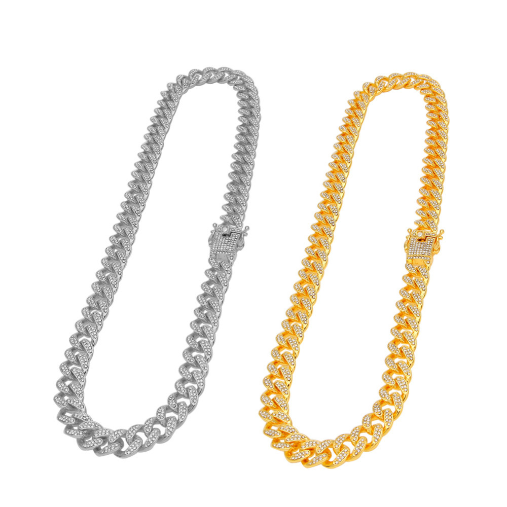13mm Miami Cuban Link Chain Gold Silver Necklace Bracelet Iced Out Crystal Rhinestone Bling Hip hop for Men Jewelry Necklaces 7