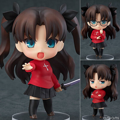 NEW hot 10cm Fate stay night Tohsaka Rin The Holy Grail War Fate/zero Saber action figure toy Christmas gift collectors alen new hot fate stay night racing girl black blue white saber throne pajamas action figure toys collection christmas gift doll