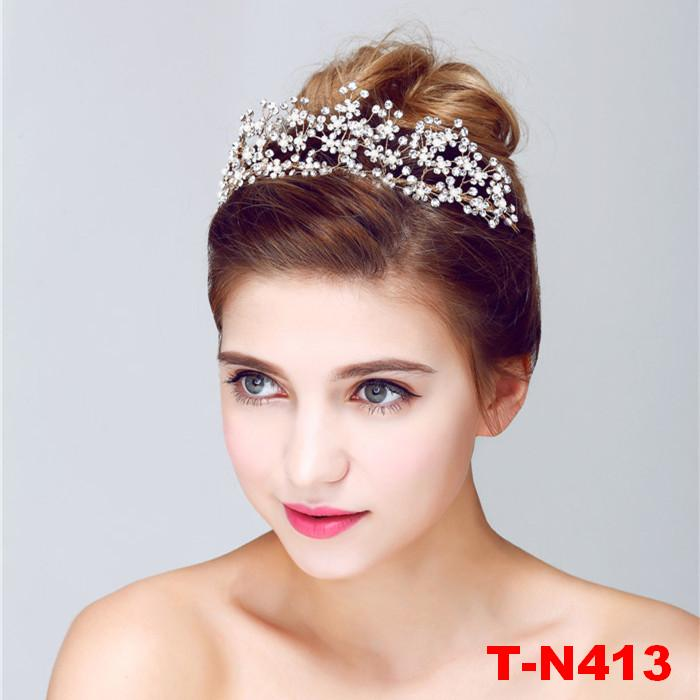 Gold Color Handmade Bling Snowflake Crystal Wedding Bridal Tiara Pearl Flower Charms Girl Crown
