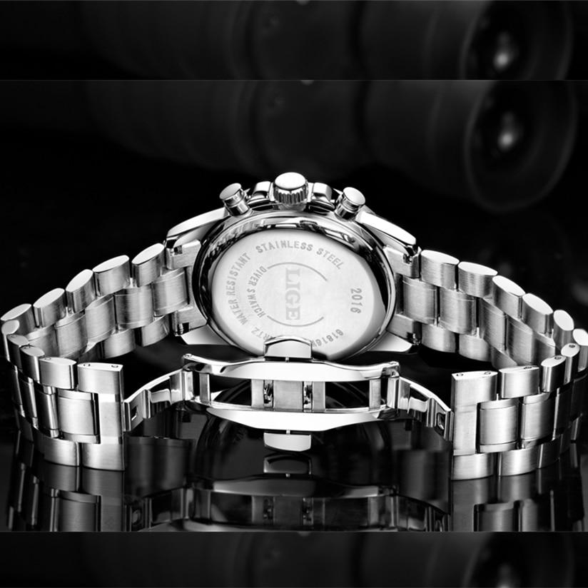 LIGE Mens Watches Top Brand Luxury Quartz Watch Hour Date Clock Fashion Casual Steel Watch Men Military Wristwatch Relogio Man in Quartz Watches from Watches