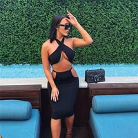 Pofash 2018 Spring Summer Dress Cropped Sexy Cut Off Bandage Bodycon Women Dress Black White Beach Dresses