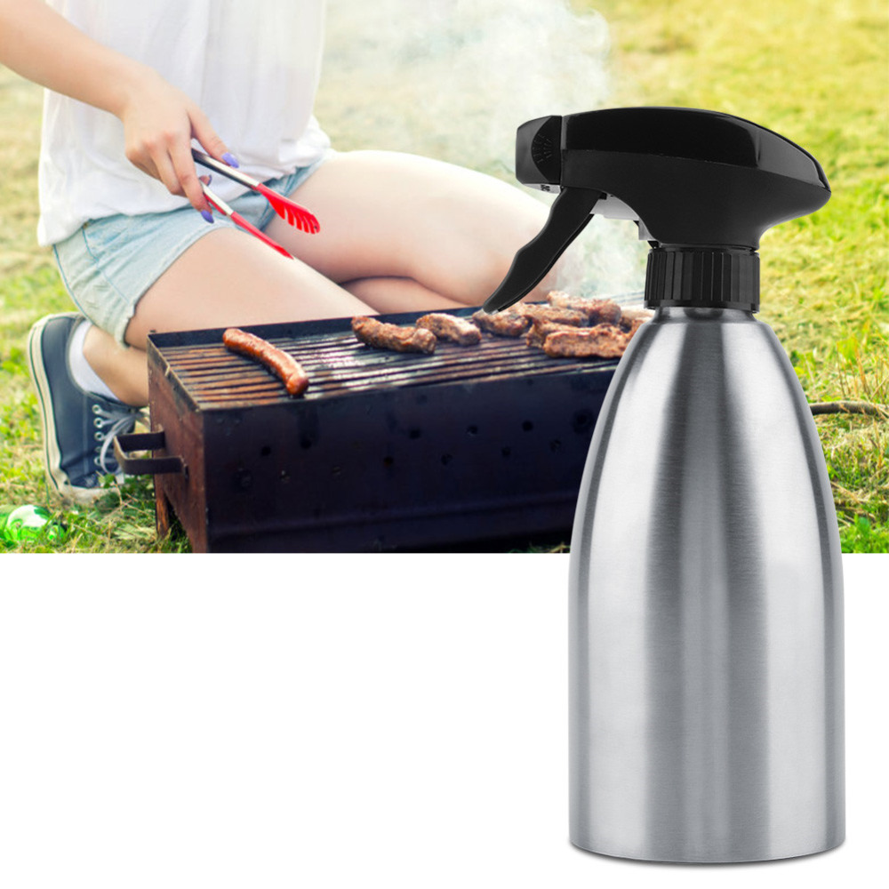 25133b0d07c3 1 Pc Stainless Steel Olive Pump Spray Bottle Oil Sprayer Oiler Pot BBQ  Barbecue Cooking Tool Can Pot ...
