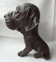 song voge gem S3310 9 Chinese Bronze Collect Wealth Feng Shui Zodiac Year Big Head Dog Guard Statue