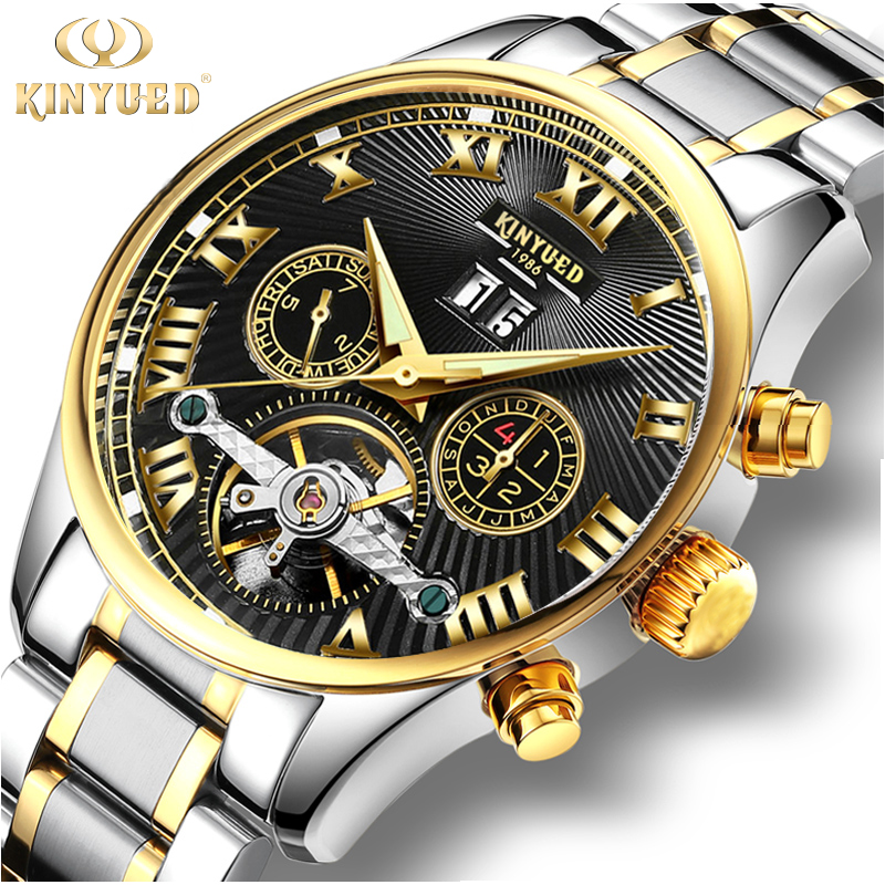 все цены на KINYUED Business Mechanical Watches Mens Skeleton Tourbillon Automatic Watch Men Gold Steel Calendar Waterproof Relojes Hombre