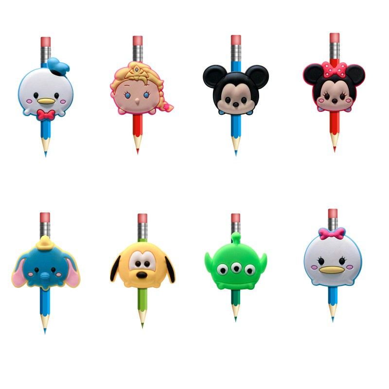 1Pcs Cute Tusm Tusm Pens Topper Straw Charm Kawaii Pencil Holder School Supplies Pencil Grip Kids Gifts